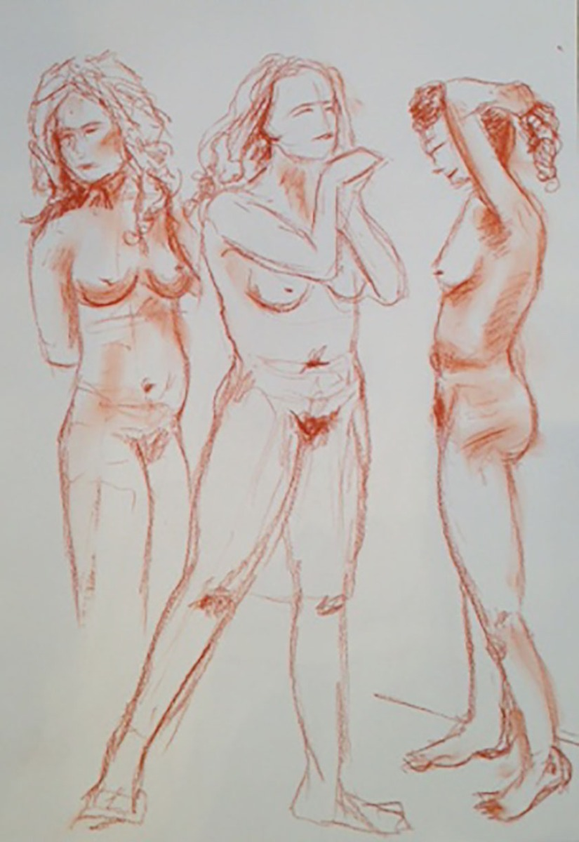 Life drawing studies conte