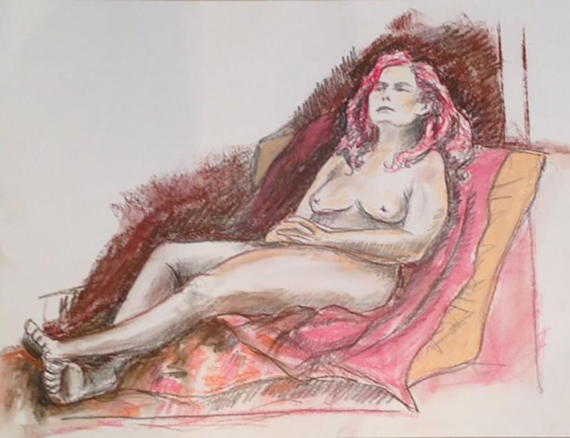 Reclining nude conte