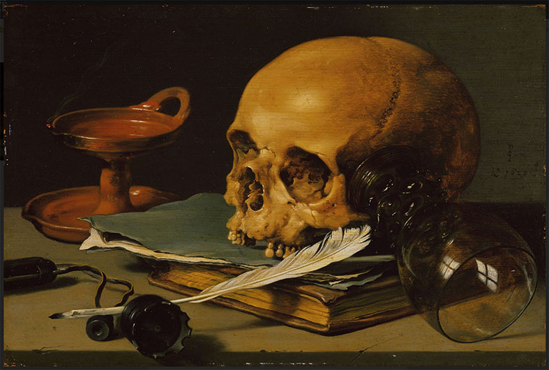 Still Life with a Skull and a Writing Quill - Pieter - Claesz - 1628