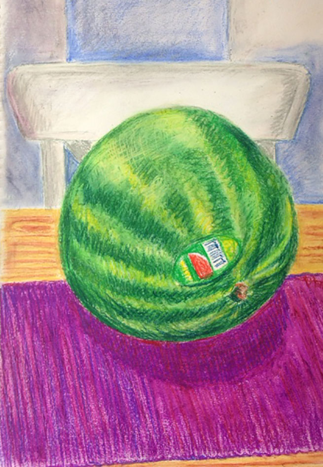 Watermelon-oilpastel-drawing-b