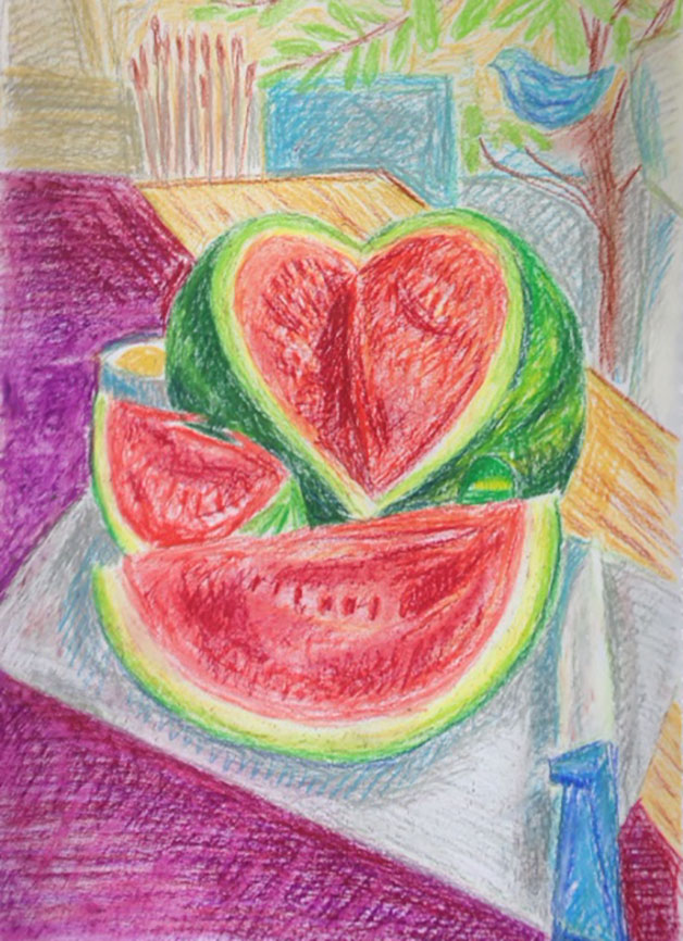 Watermelon-oilpastel-drawing
