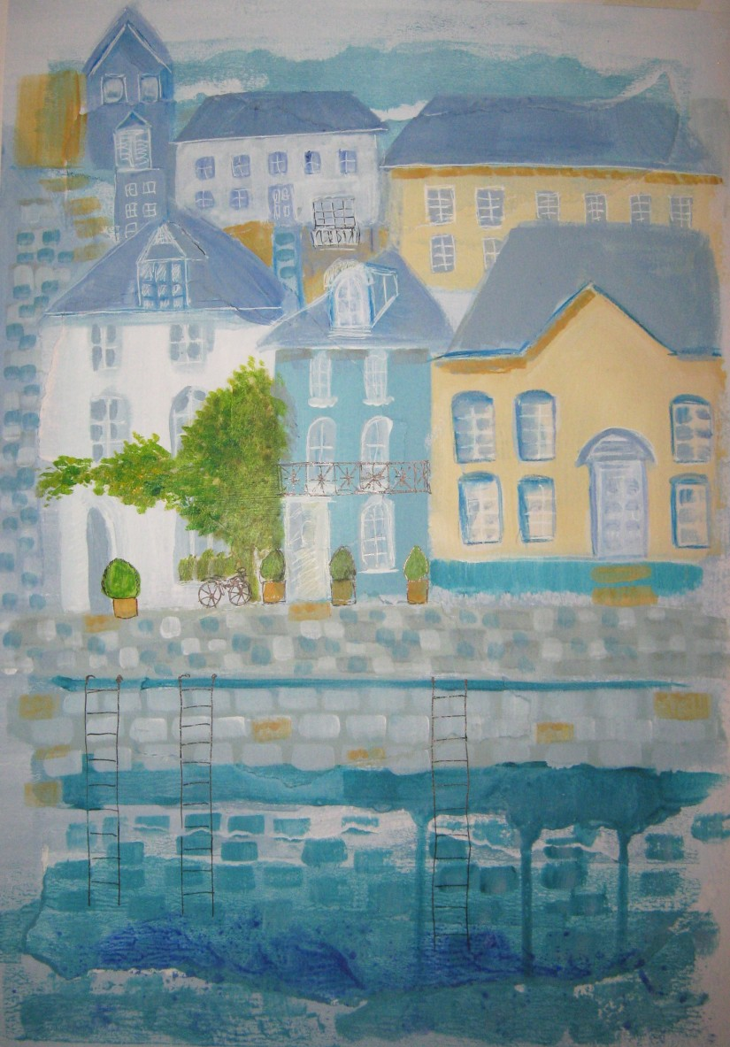 Harbourscape mixed media
