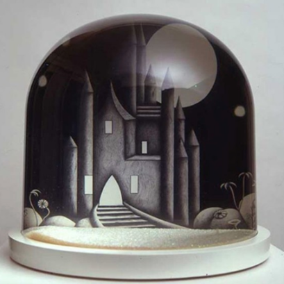 Sarah Woodfine, Castle, 2 pencil drawings on paper in snow dome, 2005