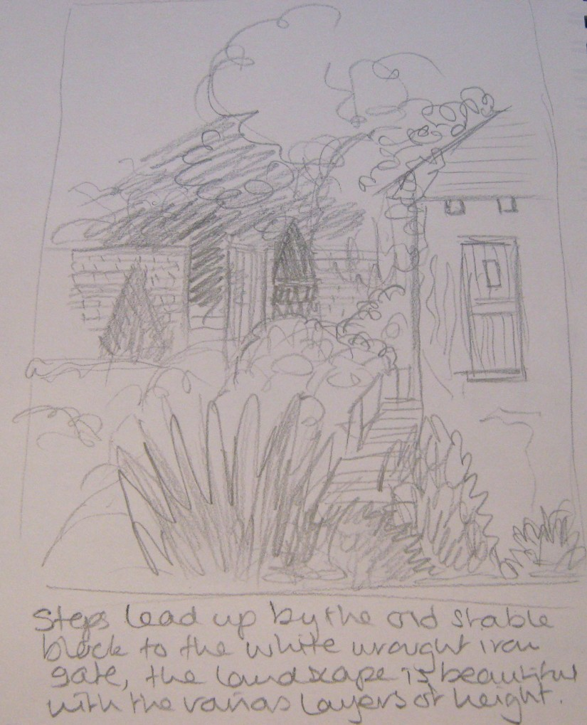 Caversham Court Garden Sketch