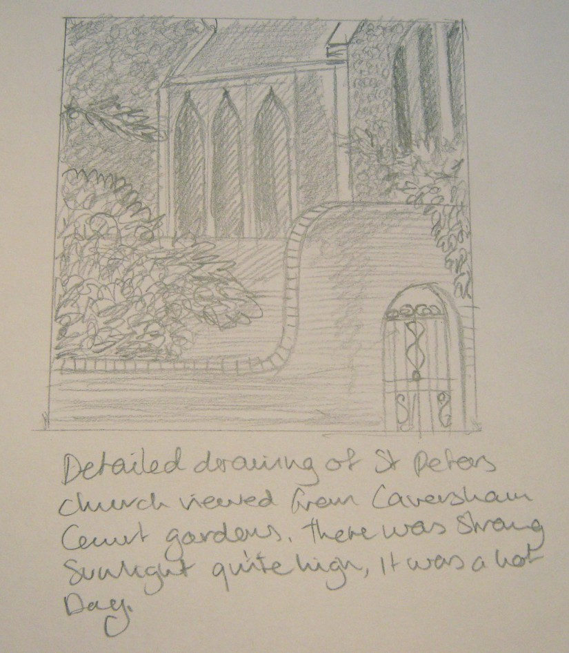 Townscape drawing st peter chrch
