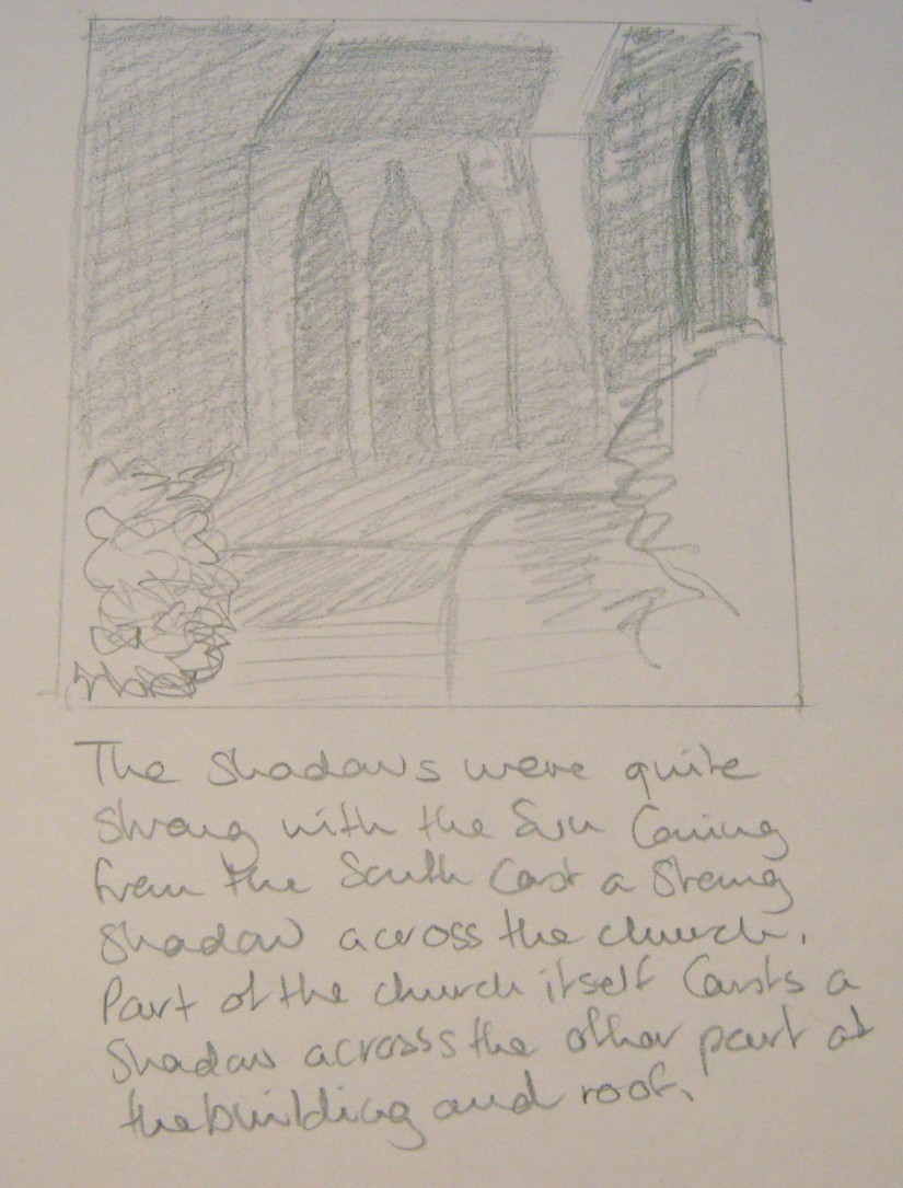 Townscape drawing st peters church shadows