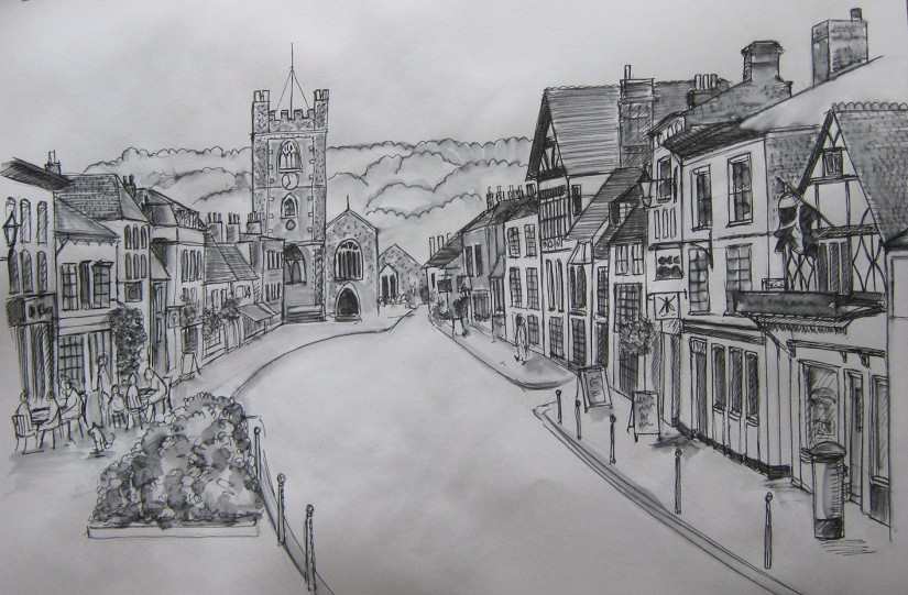 Townscape in line drawing - Henley