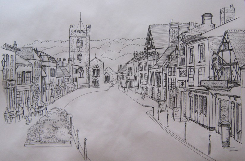 Townscape in line drawing