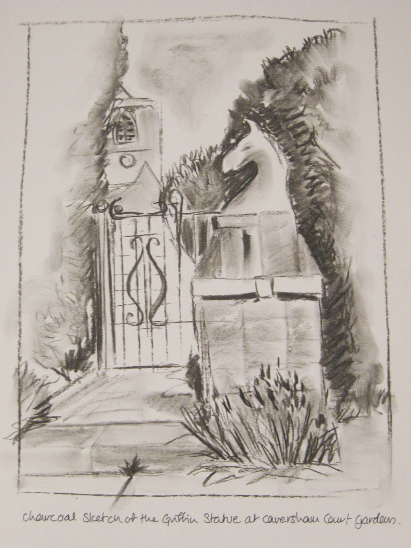 Griffin Statue gate church charcoal