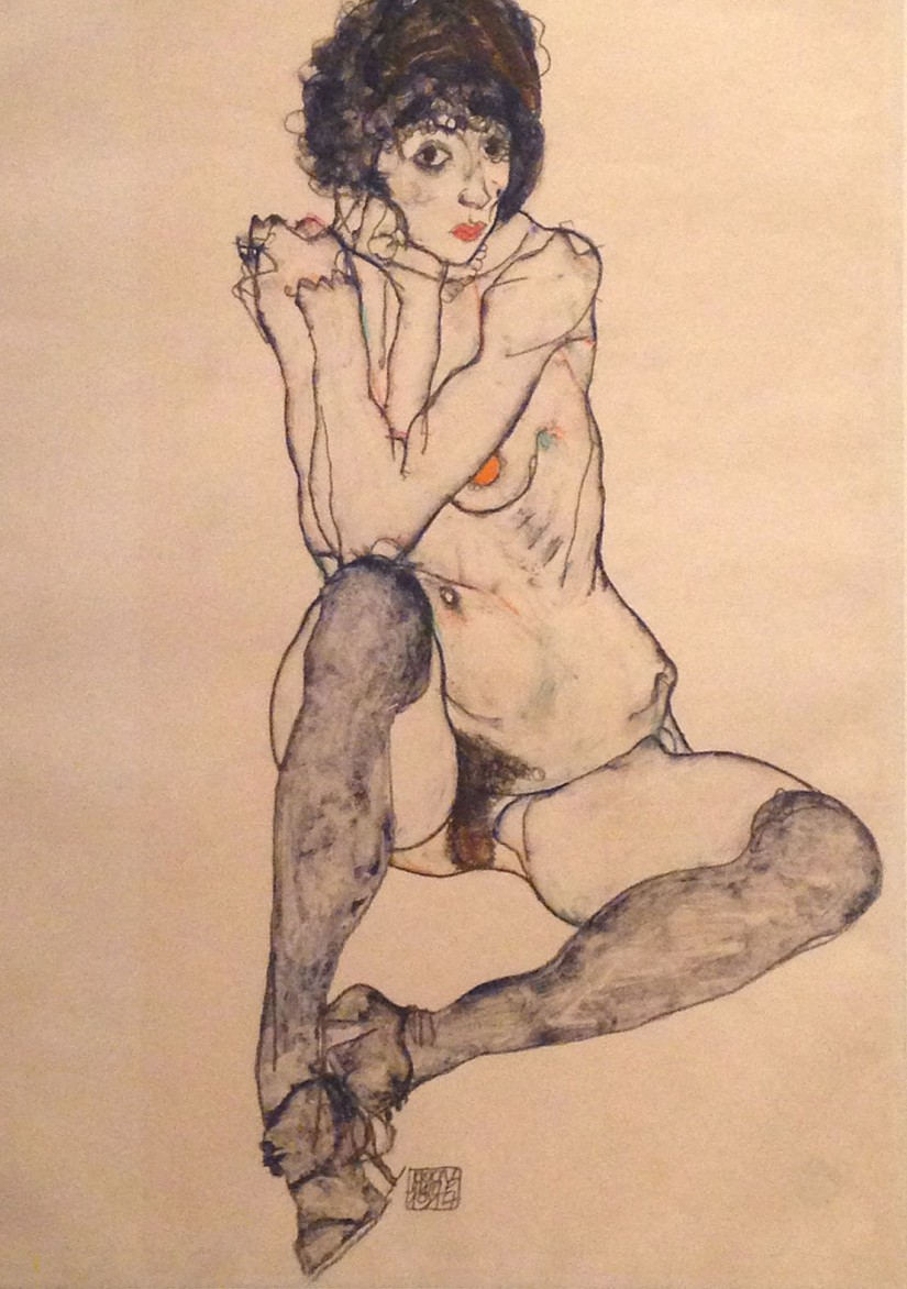 Schiele - seated figure in stockings