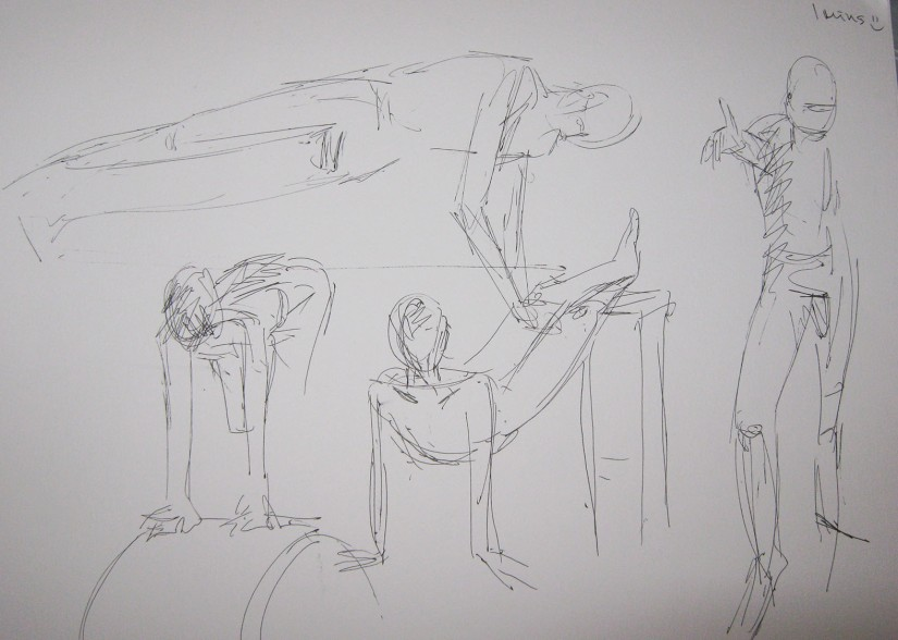 Ptoject 4 - Exercise 2 - 1 miin sketches for three figure drawings