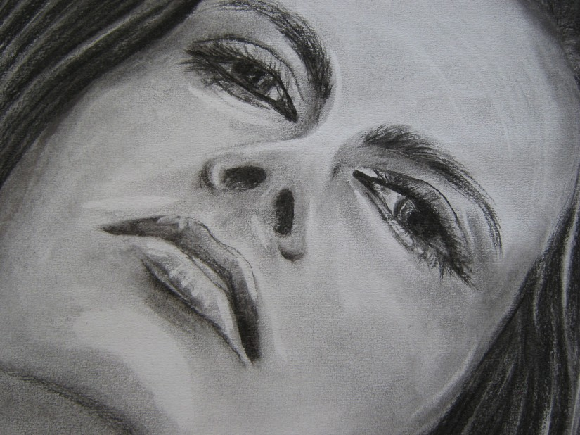 Charcoal portrait close-up