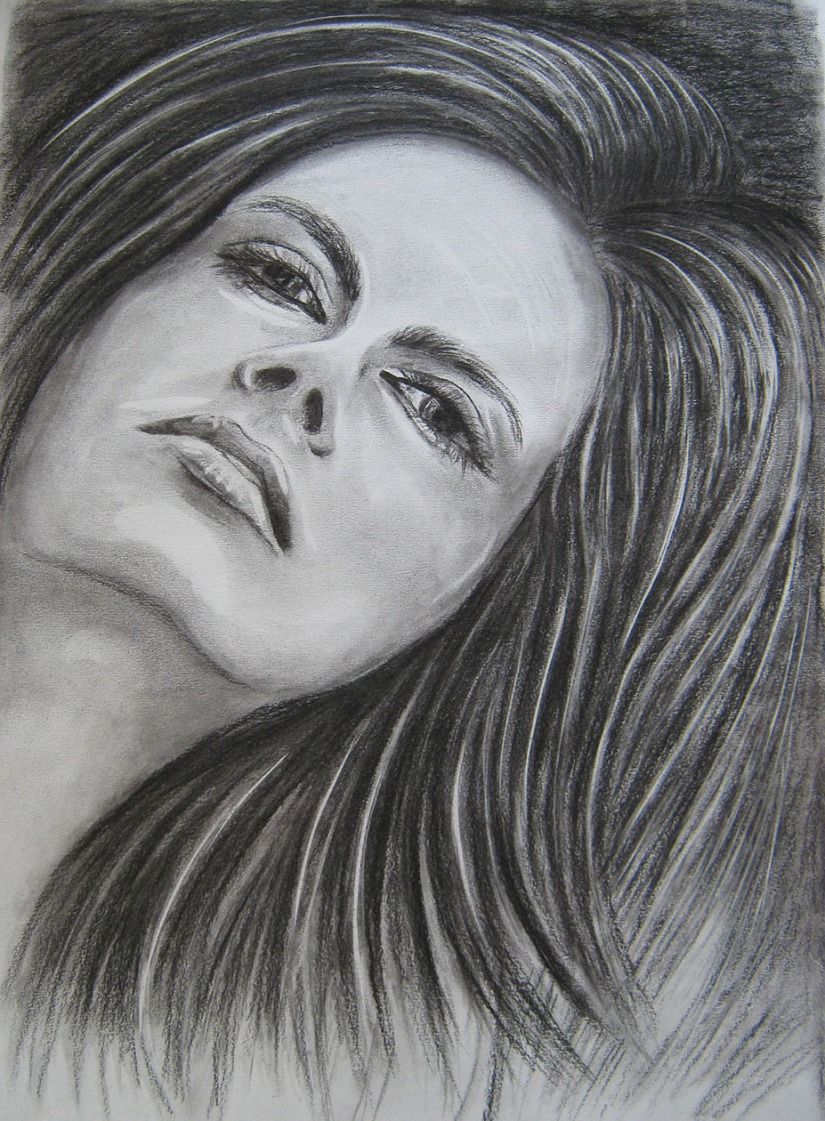 Pro 6 - The Head Facial Features Charcoal drawing