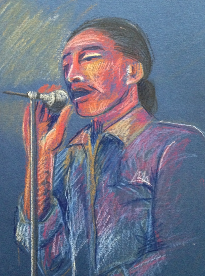 Blues Bar Musician Singer ~ Pastel Pencil