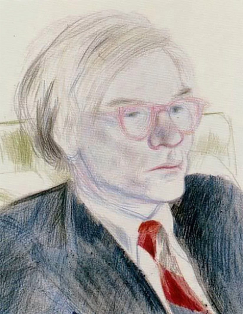 David Hockney ~ pencil portrait andy warhol