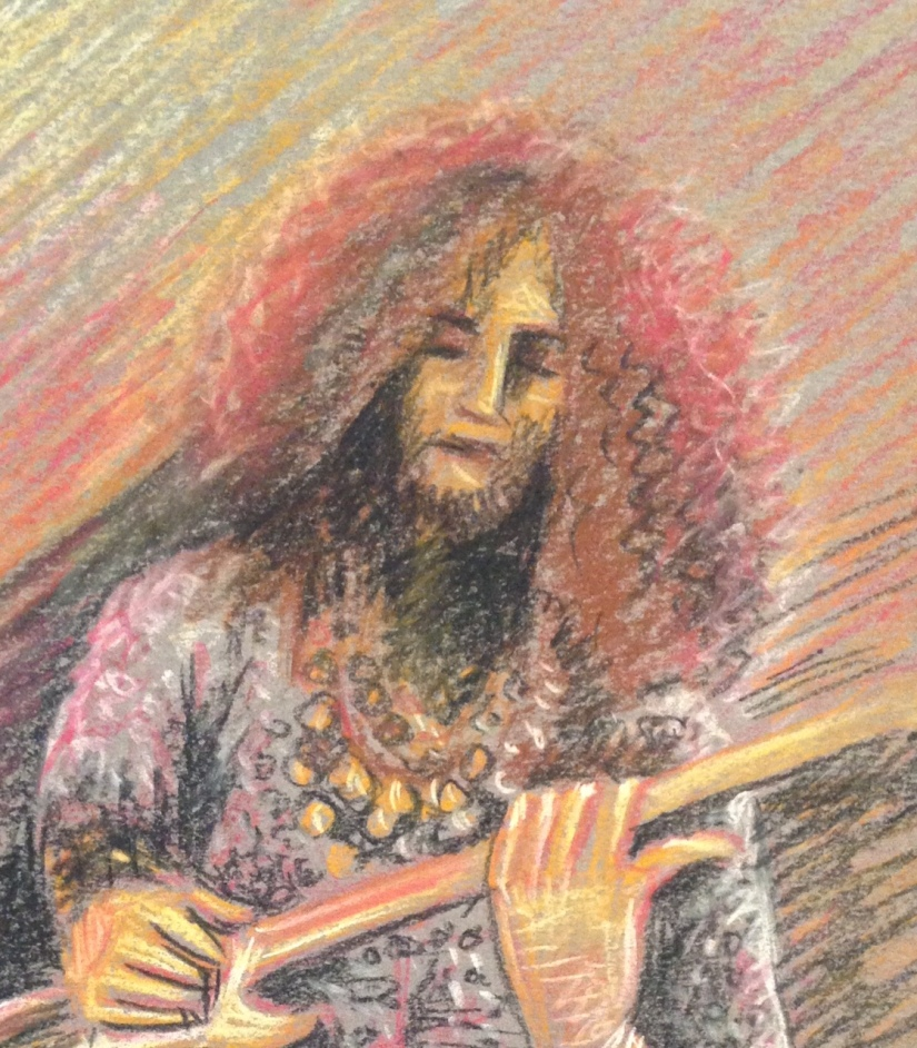 Deatil of guitarist on grey paper with pastel pencils