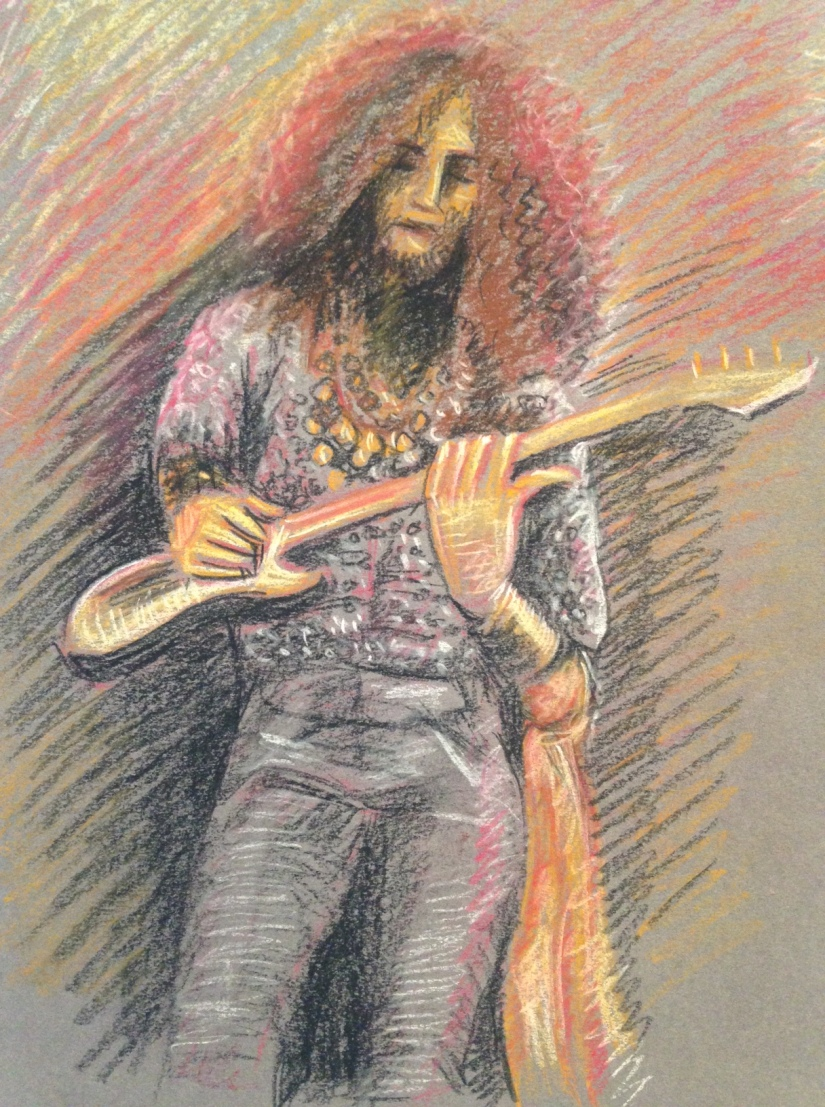 Guitarist in pastels pencil drawing on grey paper