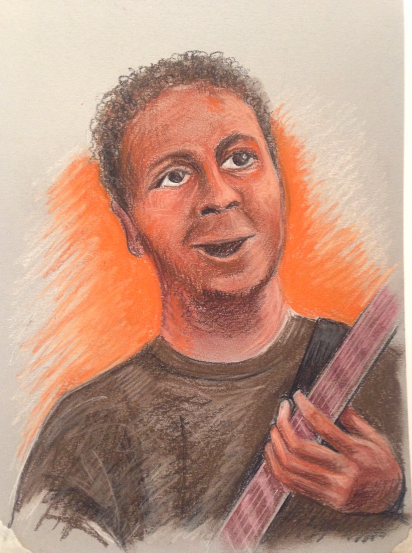 Musician drawing in Pastel