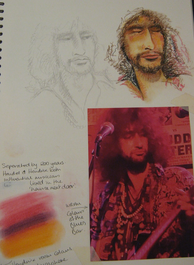 musician sketch sketchbook page 2