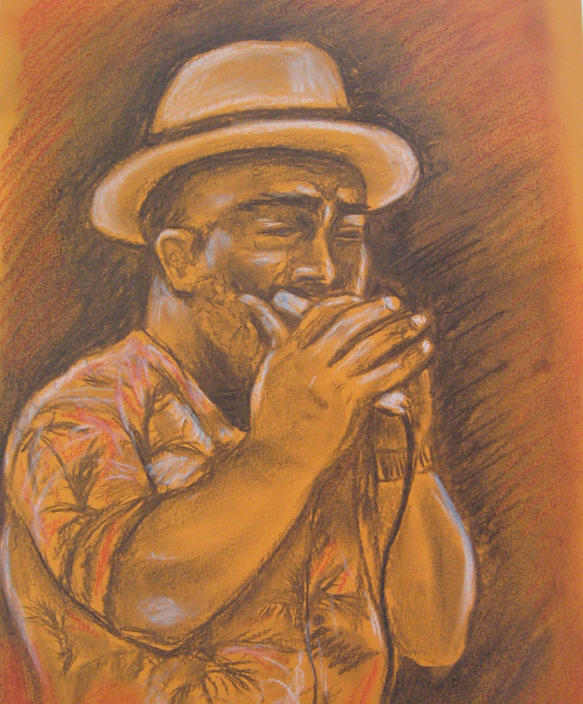 Drawing Skills - Part 5 - musician charcoal & pastel on orange paper