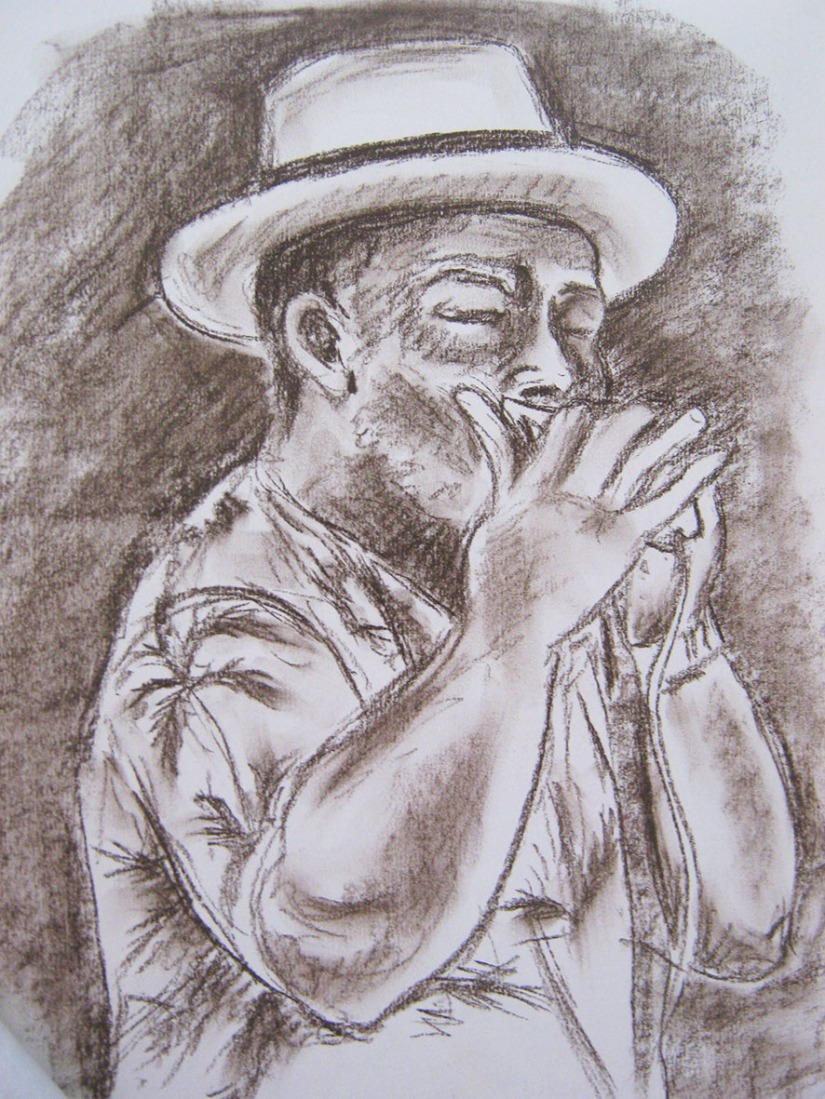 Drawing Skills - Part 5 - musician playing the harmonica - charcoal