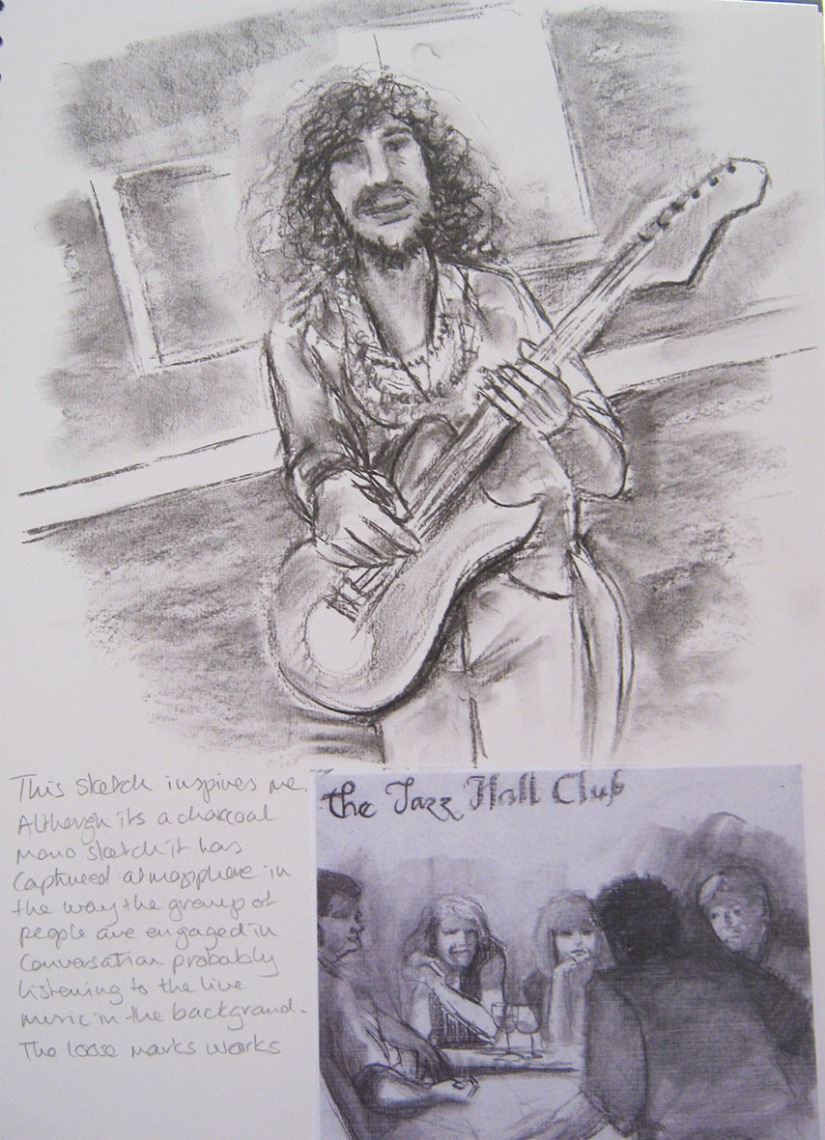 Drawing Skills - Part 5 - musician 'woody' charcoal sketch