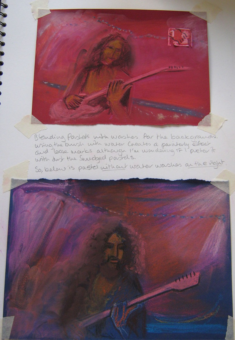 Drawing Skills - Part 5 - musician 'woody' pastel backgrounds