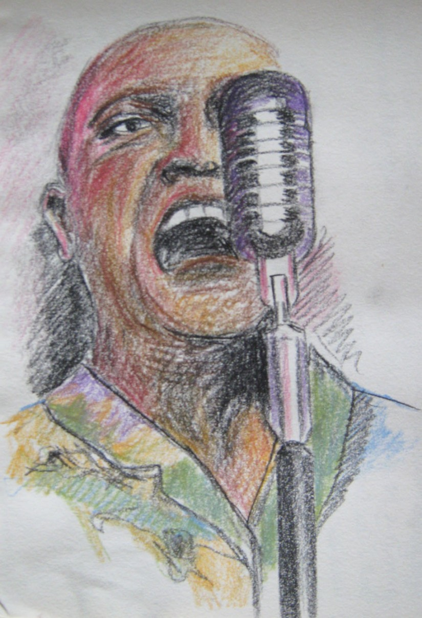 Singer sketch in pastel pencil