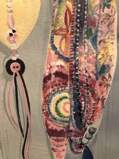 Drawing with paint scarf and beads