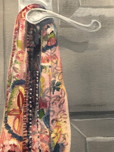 Drawing with PAint Scarf on door handles ~ detail