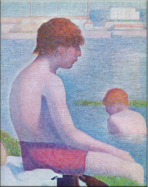 Detail from Seurat's - boys hat 'Bathers at Asnieres'