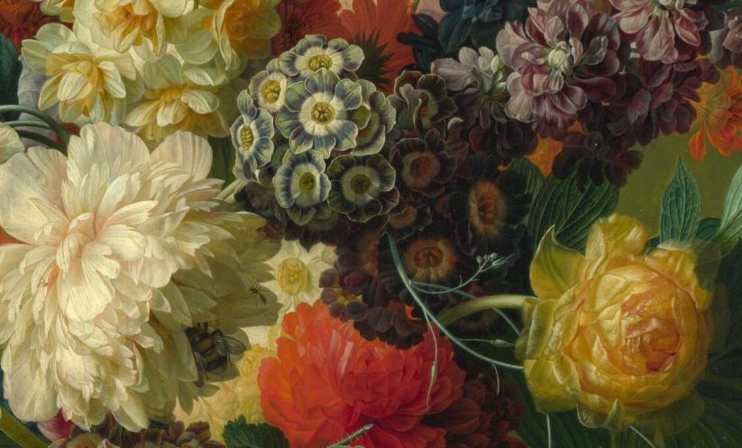 Flowers in a vase - Paulus Theodorus van Brussel detail