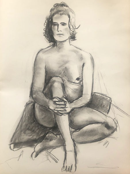 life drawing line and tone charcoal - 15 min