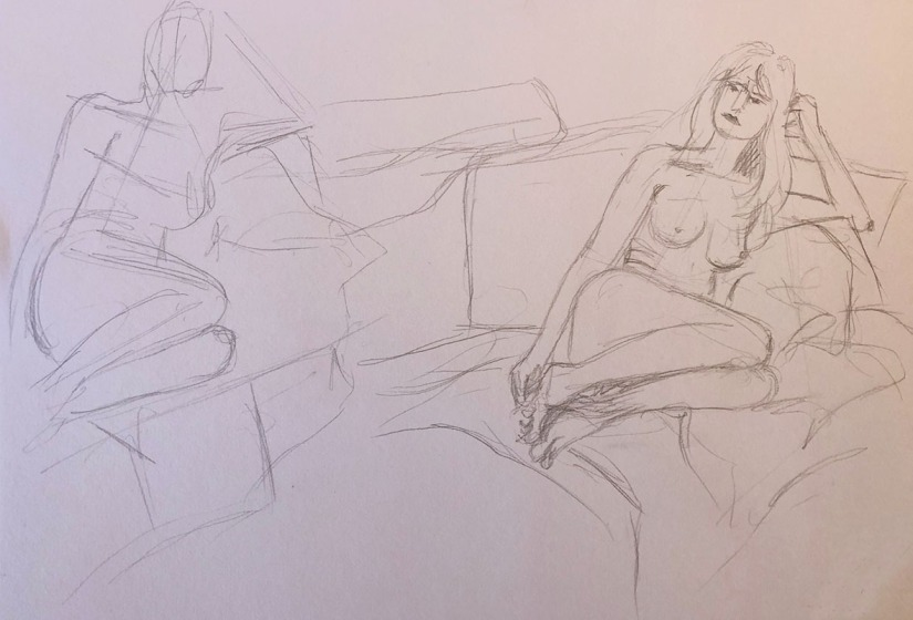 Linear figure study pre sketches