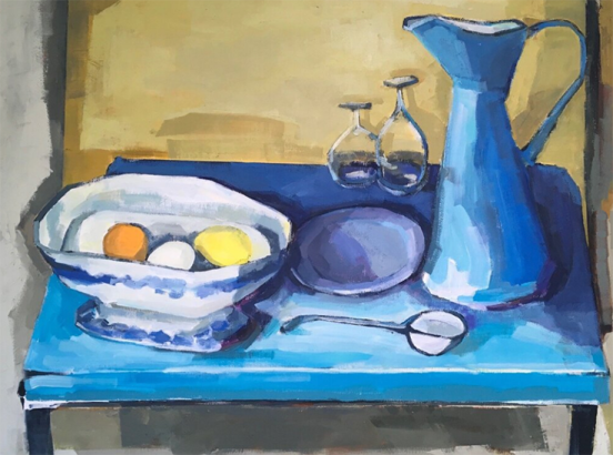 Still life with table and enamel jug ~ Kate Strachan