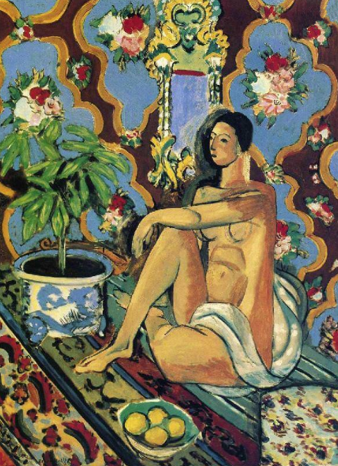 Decorative figure on an ornamental background ~ Matisse 1925