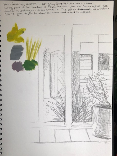 Inside kitchen looking out sketch