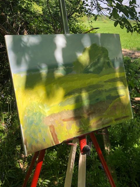 Painting outside dappled light