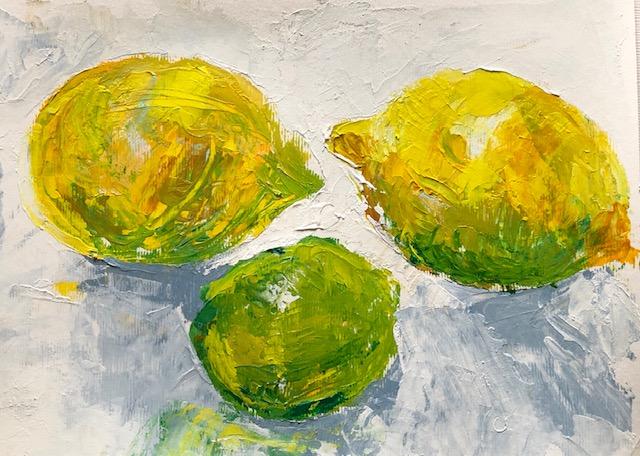 Lemons palette knife and sgrafitio
