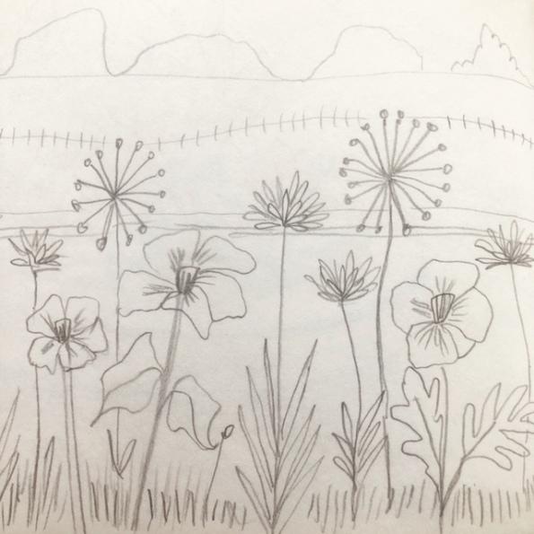 Roadside flowers sketch b
