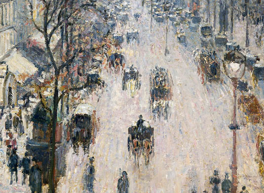 Boulevard Monmartre, Winter Morning, Camille Pissarro ~ detail