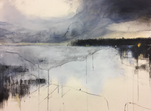 Hannah Woodman ~ cornish landscape, Watercolour, oil and graphite