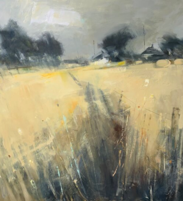 Hannah Woodman ~ Hay Bales, Cornish Farm. 120 x 110cm. Oil on board